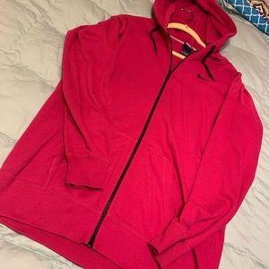 NIKE deep pink long zip hoodie